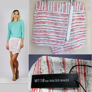 NWT Striped mini skirt M $148 Wrap Red White Short